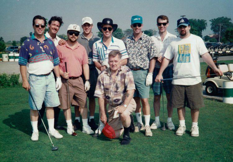 Kneeling: Grandpa Bob. Standing: Tom, Donn, Steve, Emmett, Chris, Pat, Larry, Ian.